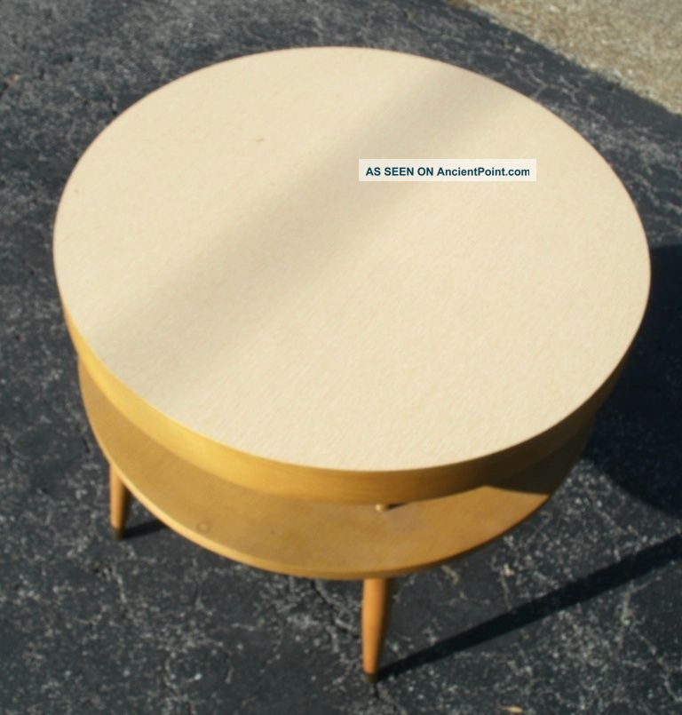 24 Inch Diameter Jetson Two Tier Floating Lower Shelf Mid Century End Table Mid-Century Modernism photo