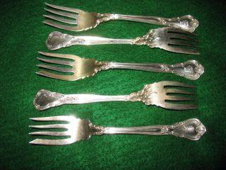 5 Gorham Chantilly Sterling Salad Forks,  1895,  5 3/4 photo