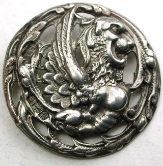 Antique Sterling Silver Button Detailed Dragon Design - 1 & 1/8 - Hallmarked photo