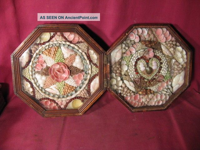 Antique 19th C Shellwork Double Sailors Valentine In Octagonal Case Folk Art photo