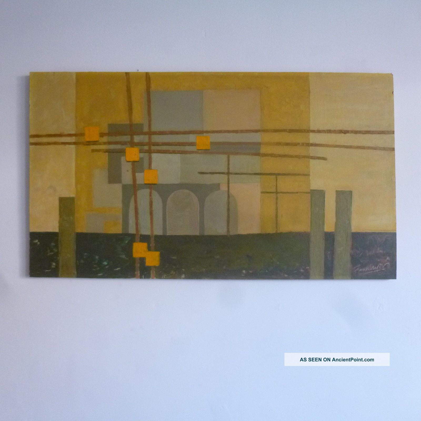Modernist Mid 20th Century Vtg 50s 60s Oil Industrial / Cityscape Abstract Mid-Century Modernism photo