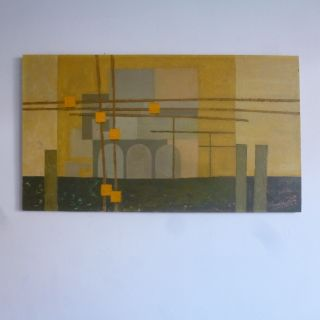 Modernist Mid 20th Century Vtg 50s 60s Oil Industrial / Cityscape Abstract photo