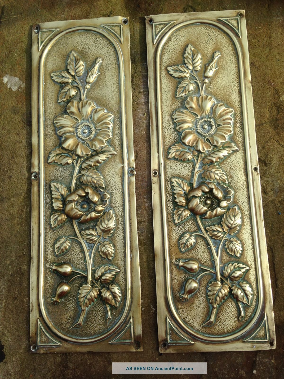 Vintage Old Victorian Brass Finger Plates Door Push Door Knobs & Handles photo