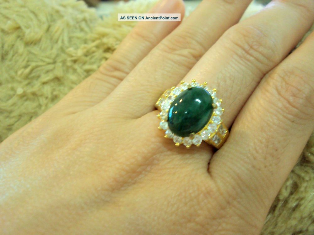 Natural Alexandrite Green Jade & Diamond Estate Vintage Natural Jewelry Amulets photo