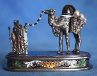 Antique Austrian Viennese Enamel Austria John Jaffa Camel Arab Pearls Figure photo