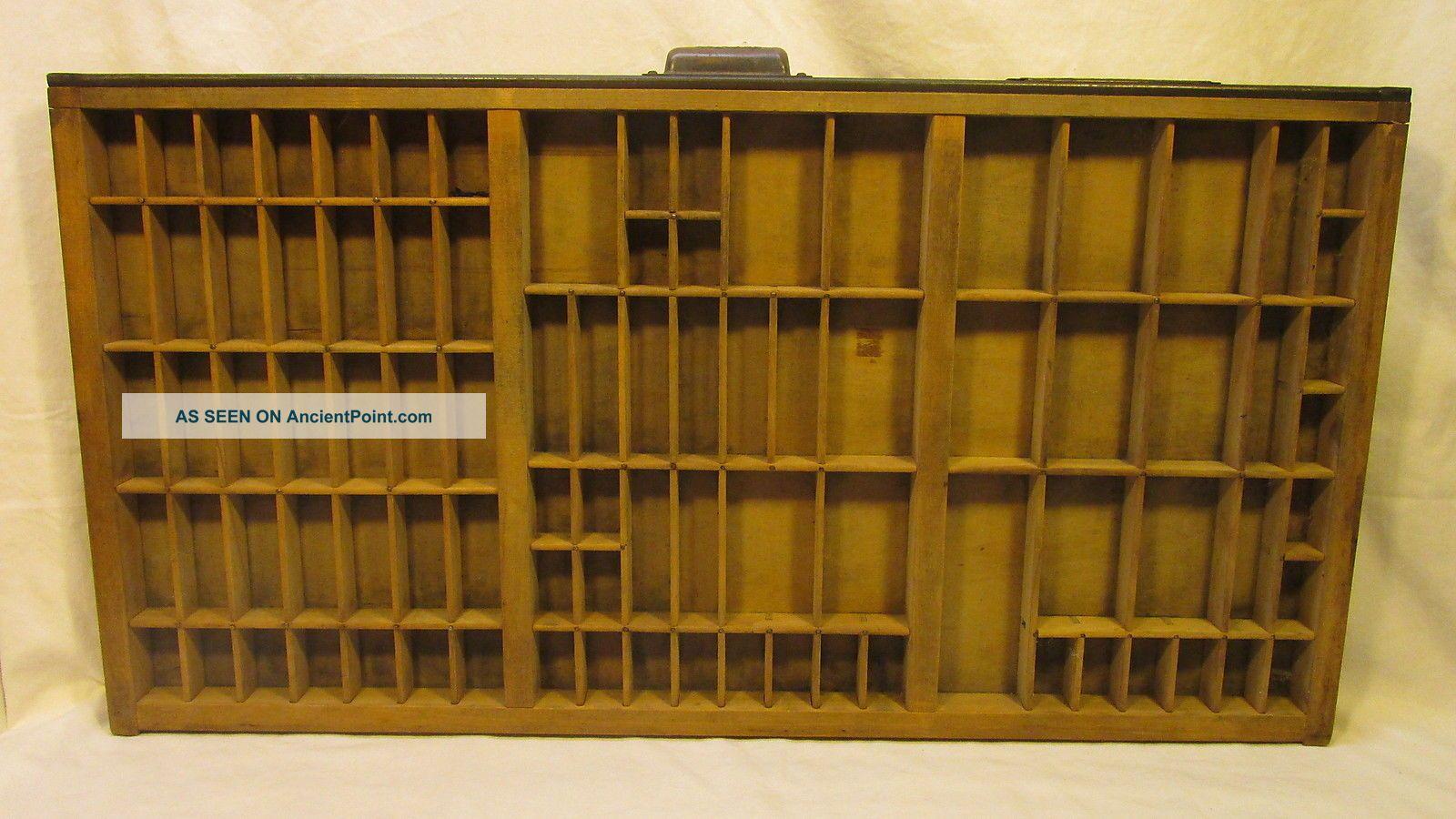 Large Vintage Hamilton Printers Tray Drawer Case Shadow Box 32
