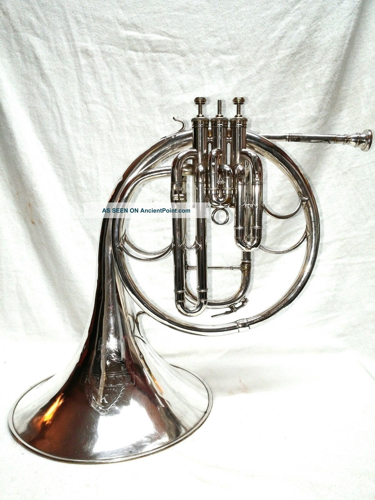 Antique Early 1900 ' S Keefer Nickel Brass Baritone French Horn Model Lp25579 Nr Wind photo