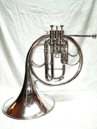 Antique Early 1900 ' S Keefer Nickel Brass Baritone French Horn Model Lp25579 Nr photo