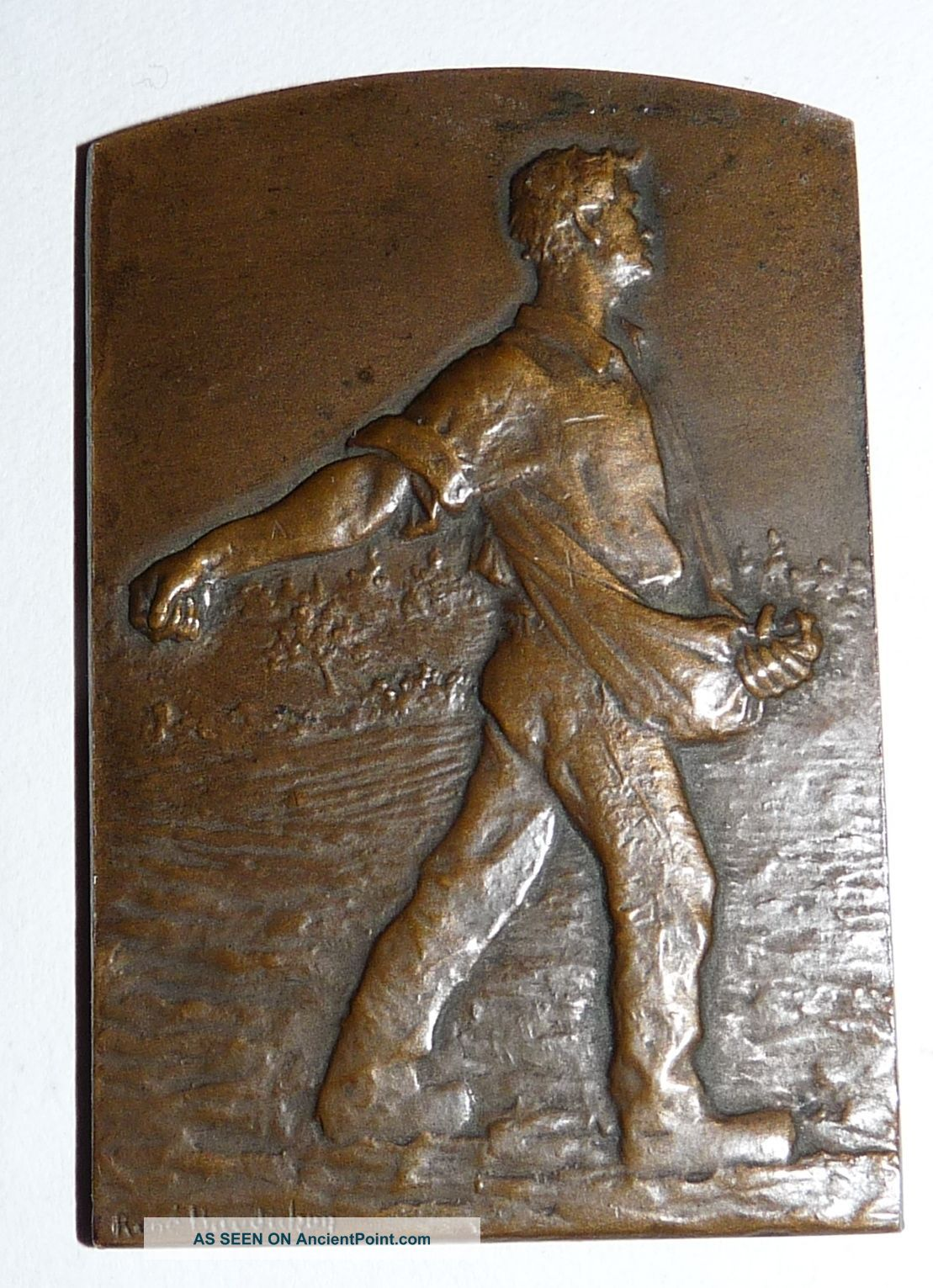 Double Sided,  20th Century French Bronze Plaque By Rene Baudichon Art Nouveau photo