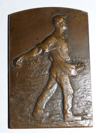 Double Sided,  20th Century French Bronze Plaque By Rene Baudichon photo