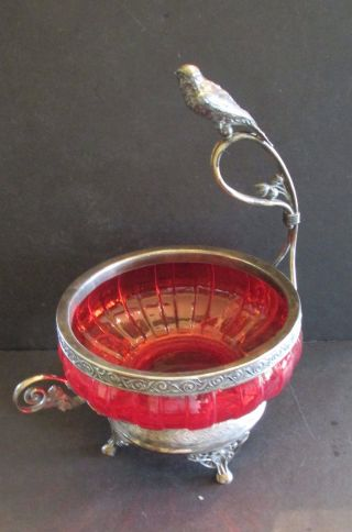 Victorian Brides Basket Cranberry Bowl Silver Plate Ornate Base Bird Sparrow photo