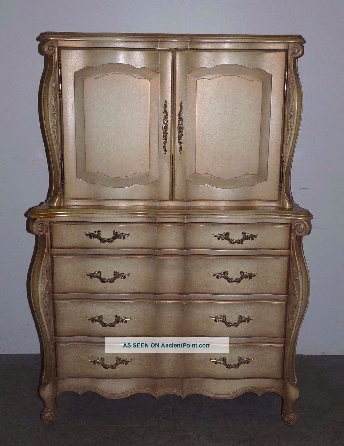 Vintage French Provincial Scroll Carved Tall Chest Dresser 020402 Post-1950 photo