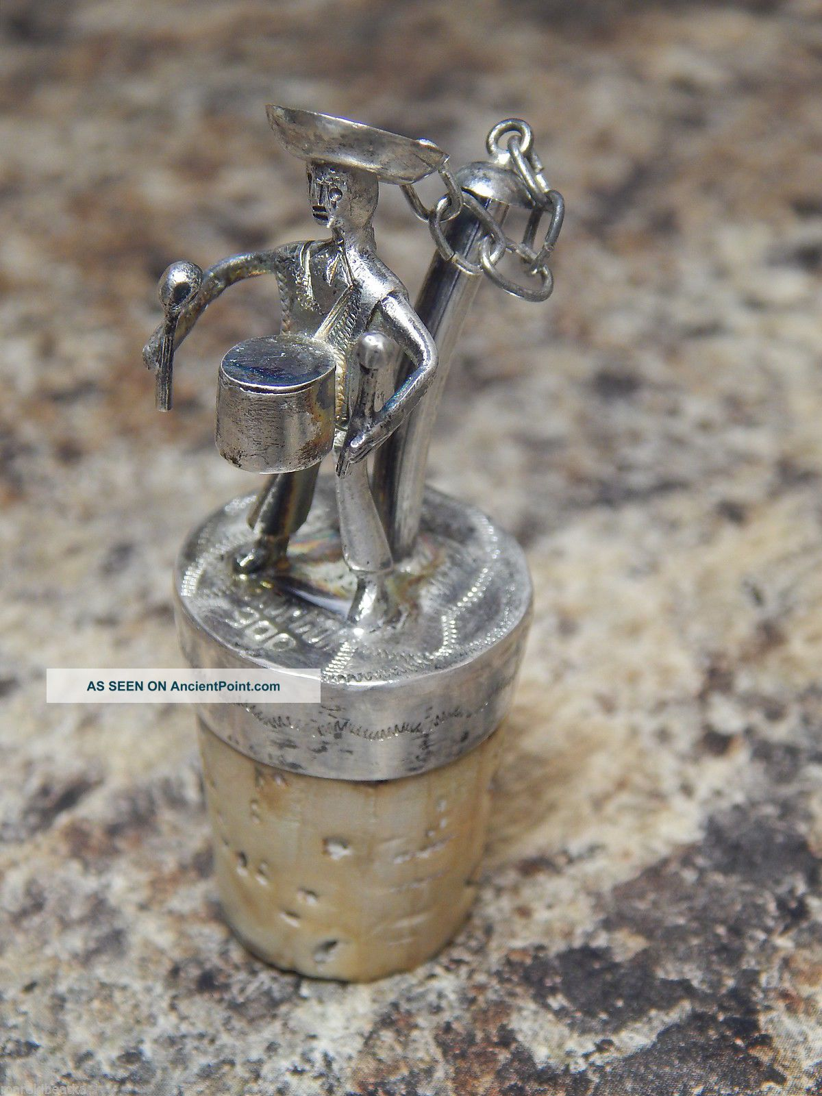 Antique Italian 900 Silver Figural Drummer Bottle Stopper With Cork 2 Other Antique Non-U.S. Silver photo