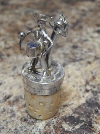 Antique Italian 900 Silver Figural Drummer Bottle Stopper With Cork 2 photo