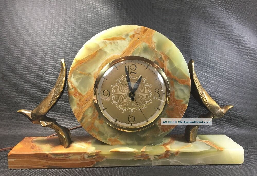 Lanshire Movement Mantle Clock Marble Base With Brass Art Deco Birds Unusual Clocks photo