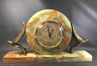 Lanshire Movement Mantle Clock Marble Base With Brass Art Deco Birds Unusual photo