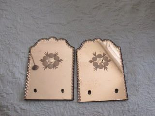 Pair Gorgeous Small Old Vintage Scalloped Edges Pink Etched Mirrors photo