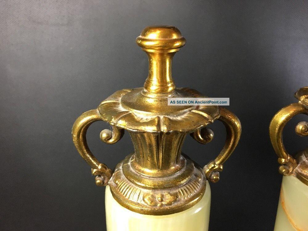 Stone/ Marble Mantle Clock Garnitures Brass Accents Feet Pair 12