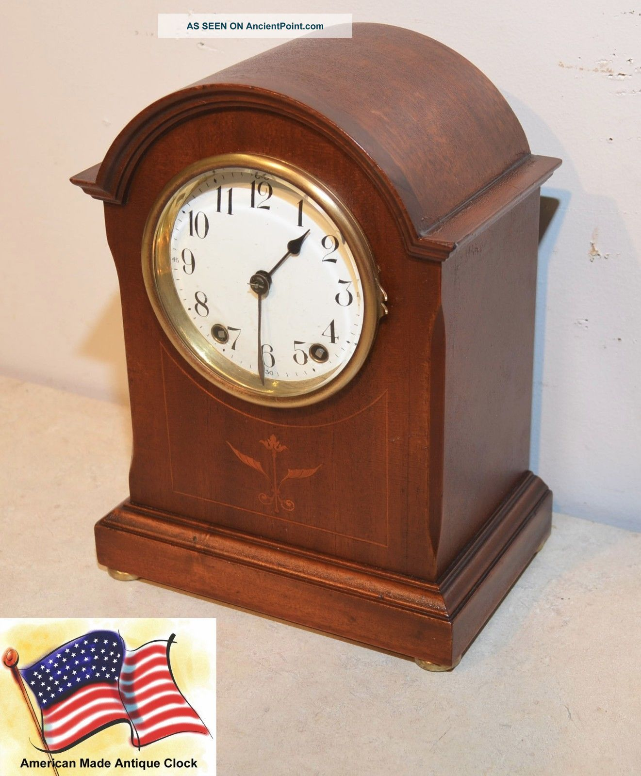 Seth Thomas Elegant & Rare Eton - 1910 Antique Cabinet Clock In Rubbed Mahogany Clocks photo