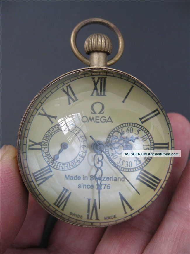 Chinese Antique Brass Clock Round Spherical Glass Mechanical Pocket Watch Nrr23 Clocks photo