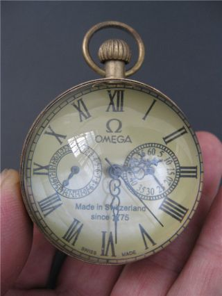 Chinese Antique Brass Clock Round Spherical Glass Mechanical Pocket Watch Nrr23 photo
