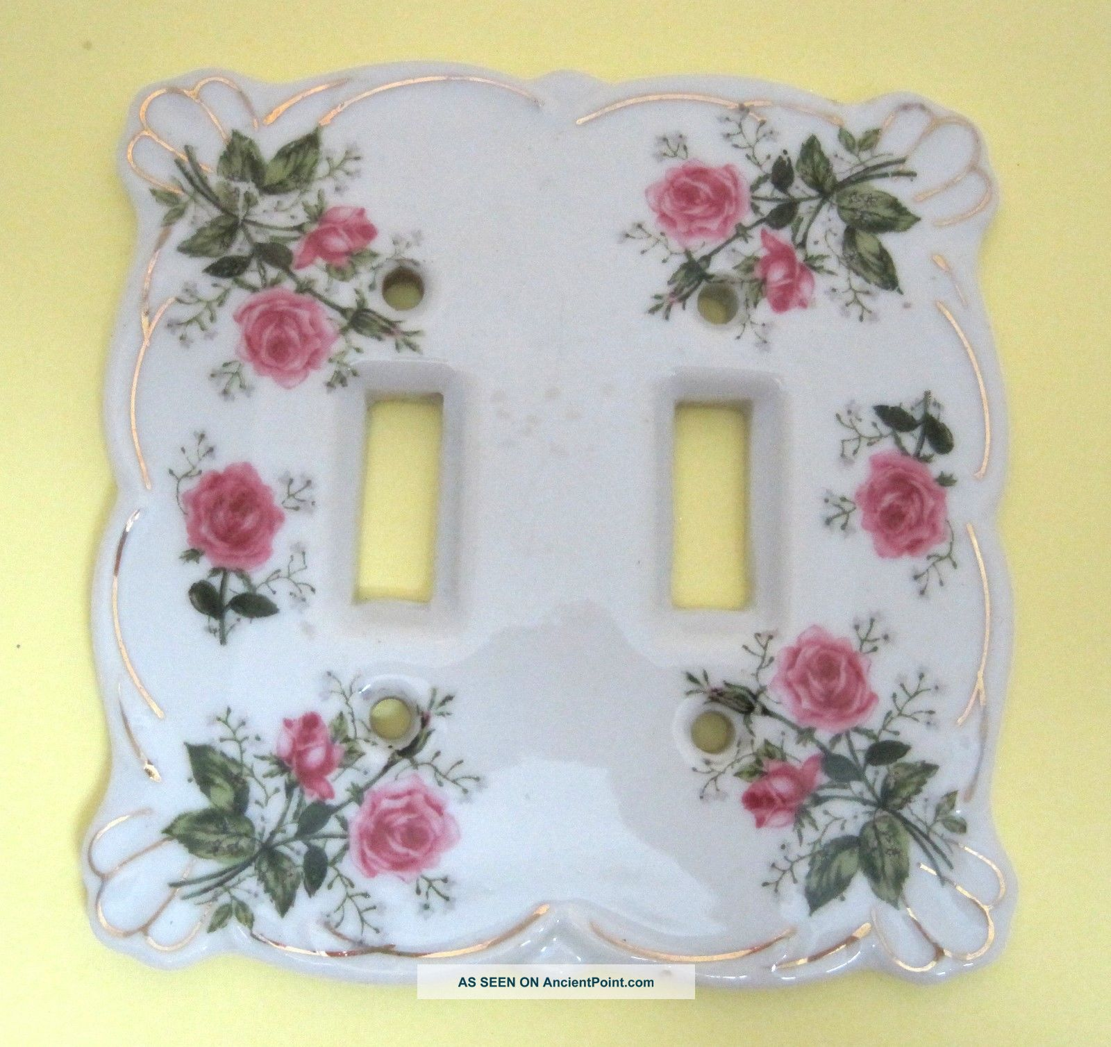 Vintage Lefton 3007 Pink Rose Double Light Switch Cover Stunning Porcelain T60 Switch Plates & Outlet Covers photo