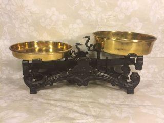 Antique Vulkan Balance Beam Scale W/ Brass Pans photo