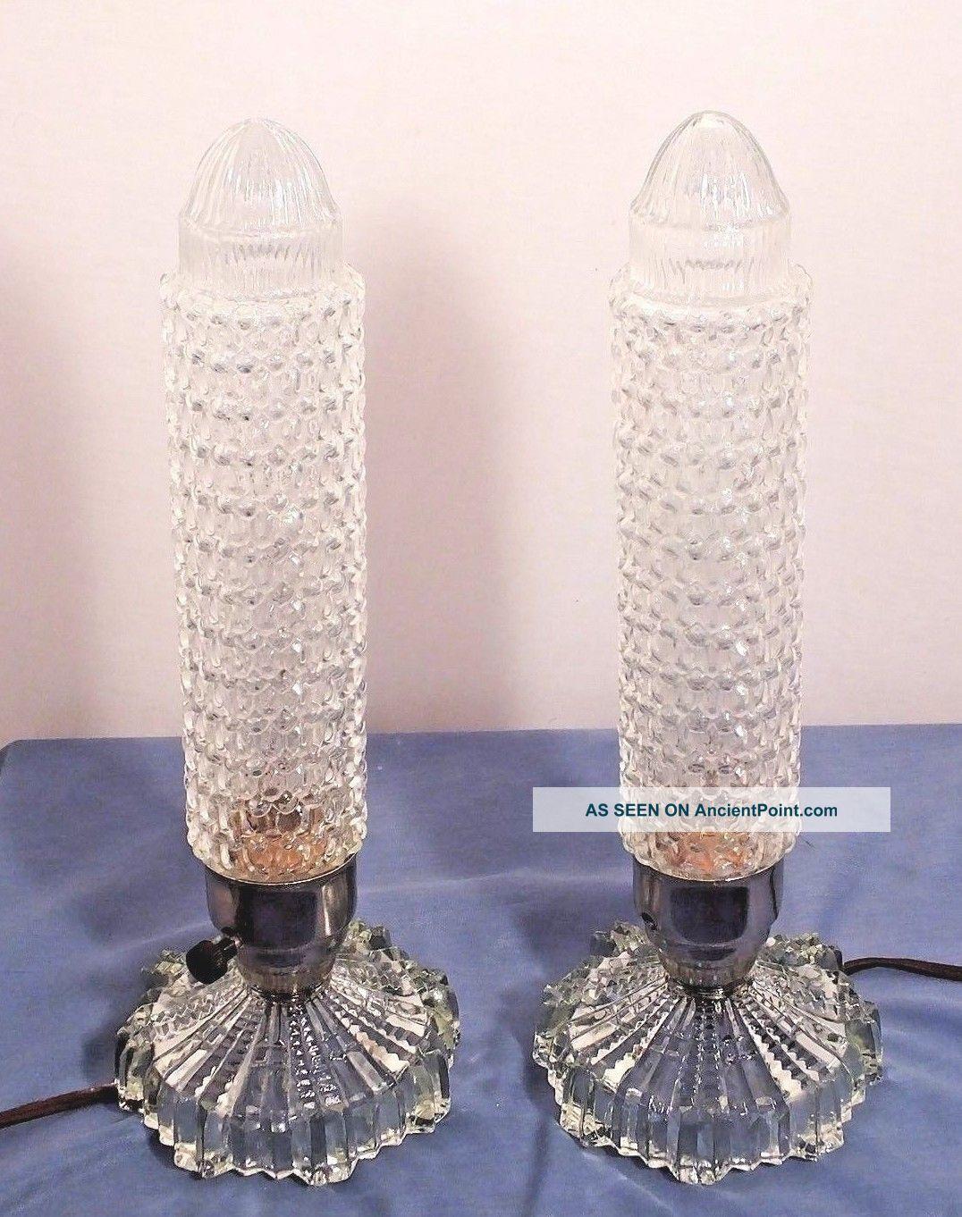 2 Art Deco Vintage Torpedo Skyscraper Bullet Lamps Glass Shades Boudouir Phallic Art Deco photo