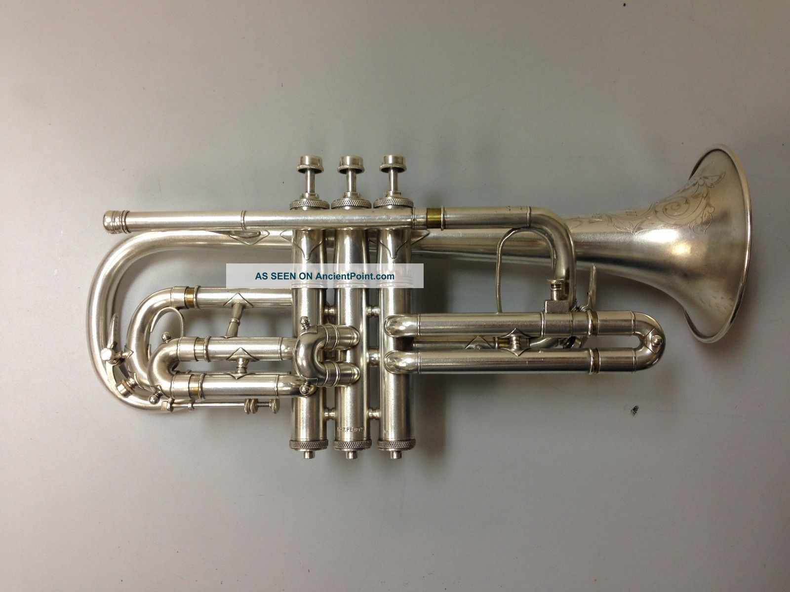 H.  N.  White King Improved Perfecto Silver Plated Cornet C.  1906 Brass photo