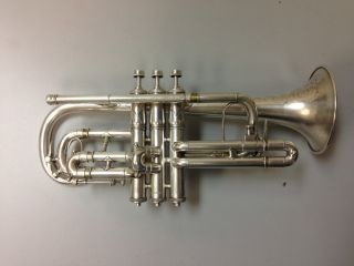 H.  N.  White King Improved Perfecto Silver Plated Cornet C.  1906 photo