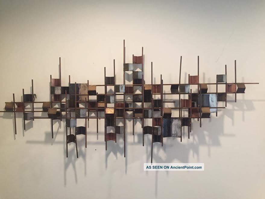 Vintage Signed Curtis Jere Brutalist Mid Century Modern Wall Sculpture 60