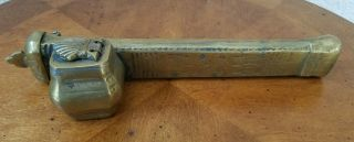 Rare Antique 1800 ' S Brass Inkwell & Pen Case Vintage Traveling Scribe Holder photo
