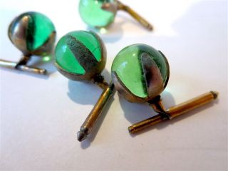 Antique Green Glass Ball Buttons Claw & Spring Backs photo