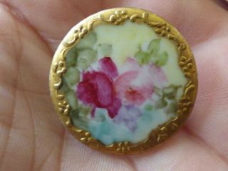 Antique Oval White Porcelain Stud Painted Roses photo