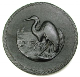 Lg Sz Antique Horn Button Heron Bird Pictorial Design - 1 & 7/16