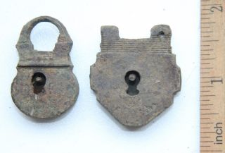 2 X Antique Old Small Brass Pad Lock photo