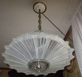 Antique Frosted Glass Sunflower Art Deco Ceiling Light Fixture Chandelier 16