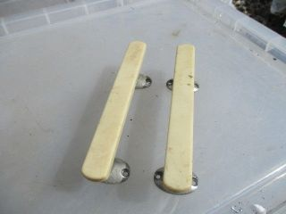 Retro Plastic Door Handle Pulls Cream With Chromed Feet Pair Late Vintage Old photo