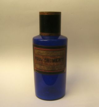 Antique Cobalt Blue Glass Chemist Apothecary Jar Bottle Pontil C.  1850 Toothpaste photo