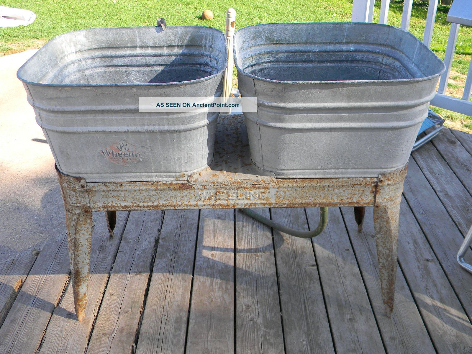 Vintage Wheeling Double Basin Wash Tub