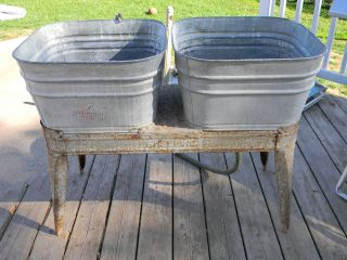 Vintage Wheeling Double Basin Wash Tub Stand Metal Galvanized Mid Century Rustic photo