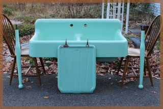 Stunning 4 - Piece 1931 Seafoam Green Vintage Antique Farmhouse Farm Sink Dual Bay photo