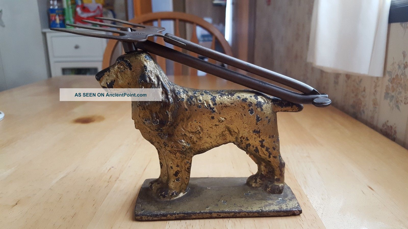 Antique Cast Iron Cocker Spaniel Y.  S.  C.  Toastee Articulated Fireplace Toaster Toasters photo