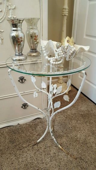 Shabby White Vintage Crusty Chippy Cottage Italian Tole Metal End Table photo
