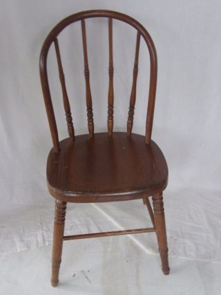 Vintage Solid Oak Children Chair With Round Back And Spindles photo