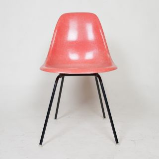 Vintage Herman Miller Eames Red / Orange Fiberglass Side Shell Chair Mid Century photo