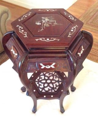 Ornate Carved Rosewood Mother Of Pearl Inlay Oriental 2 Tier Flower Stand photo
