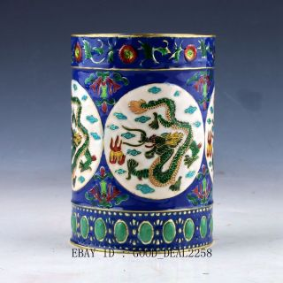 Chinese Cloisonne Hand - Painted Flower Brush Pots Qing Dynasty Mark Q1 photo