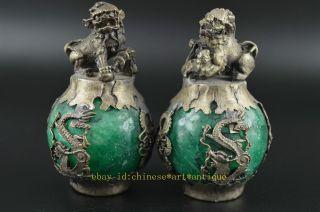 Rare Miao Silver Carve Kylin Dragon Phoenix Inlay Green Jade Lucky Pair Statue R photo