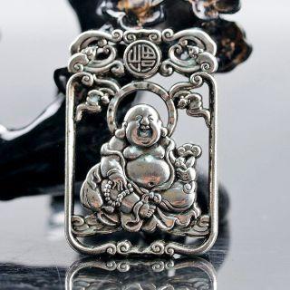 Exquisite Chinese Silver Copper Handmade Maitreya Buddha Pendant photo